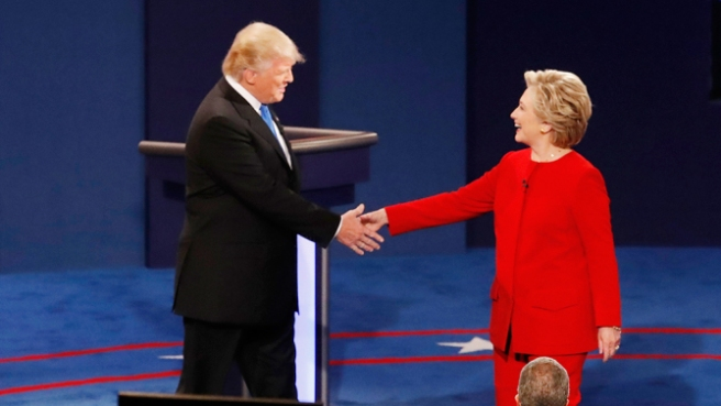 Democratic presidential nominee Hillary Clinton, right, shakes hands with Republican presidential nominee Donald Trump at the start of the presidential debate at Hofstra University in Hempstead, N.Y., Monday, Sept. 26, 2016. (AP Photo/Mary Altaffer)