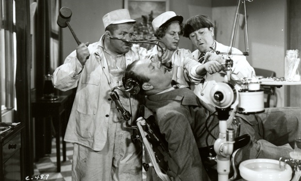 A still from a film starring The Three Stooges, Larry, Moe and Curly, as dentists, circa 1935. (Photo by Vintage Images/Getty Images)