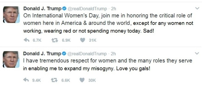 Trump Tweet women's day