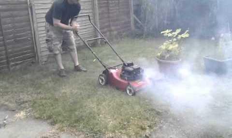 mower smoking