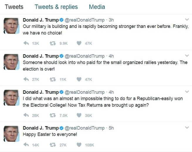 Trump Tweet Easter Rant