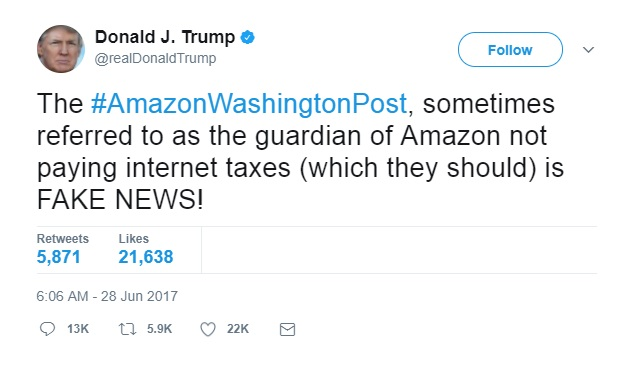 Trump Tweet Amazon