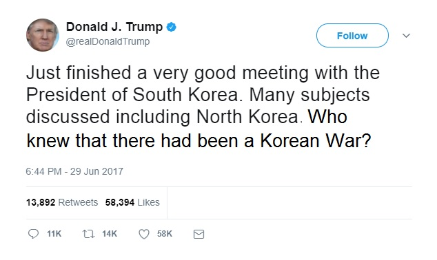 Trump Tweet Korean War