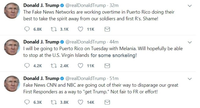 Trump Tweet Puerto Rico Fake News
