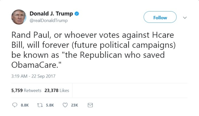 Trump Tweet Republican save Ocare