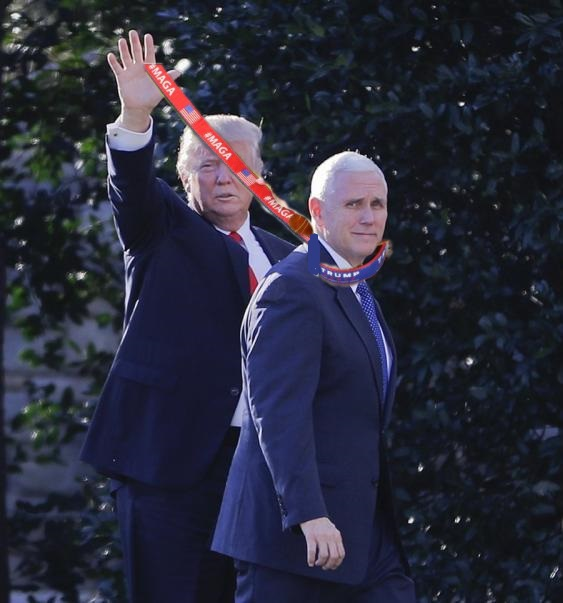 Trump pence walk with leash