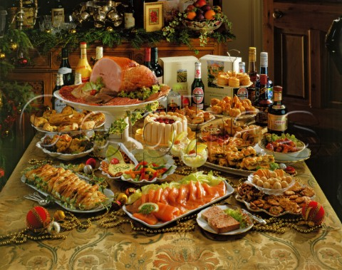holiday buffet table