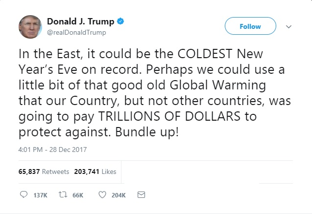 Trump tweet global warming real
