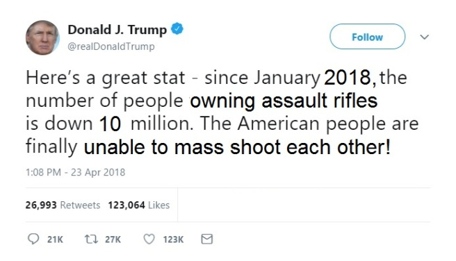 Trump Tweet assault rifles