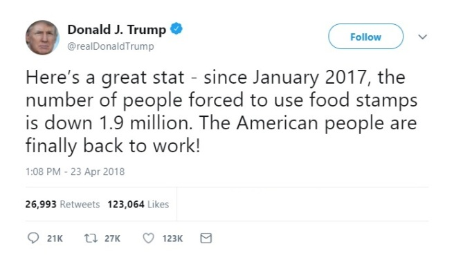 Trump Tweet food stamps
