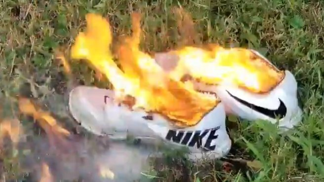 Nike shoes burning