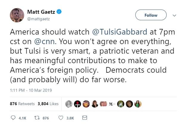 Gaetz Tweet gabbard