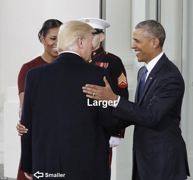 obama trump hands