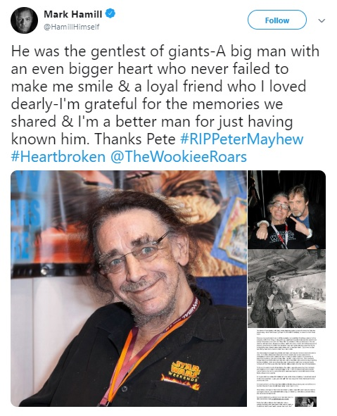 Mark Hammil Tweet Peter Mayhew