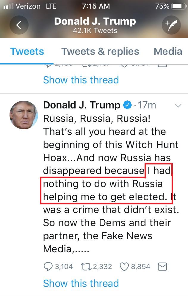 Trump Tweet Russia Admission