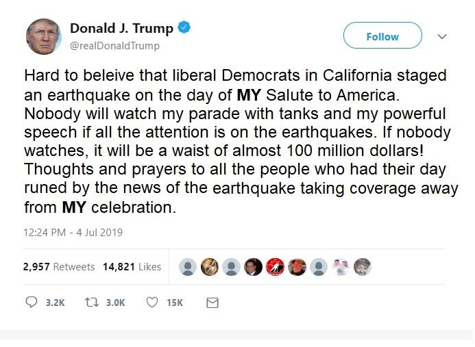 Trump Tweet Earthquake
