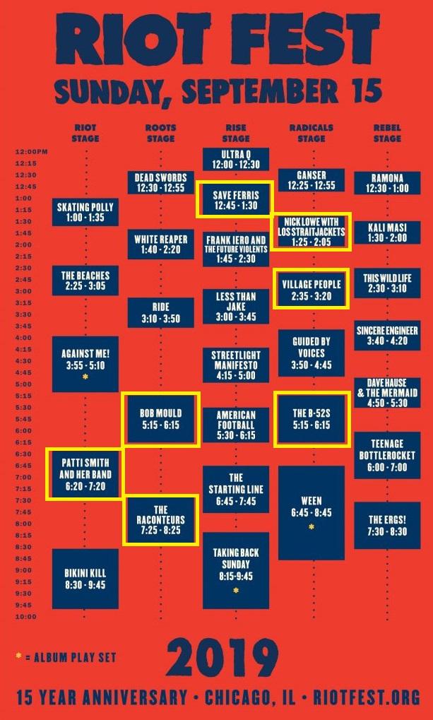 Riot Fest schedule