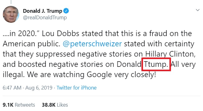 Trump Tweet Type Stutter