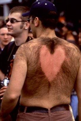 Back hair heart